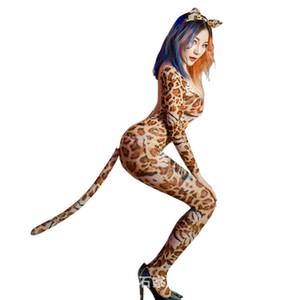 Cosplay Sexy Women Leopard Open Crotch Bodysuit Blackless See Through Jumpsuit Body Stockings Full Bodysuit With Tail Ear F35