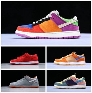 Alta personalizado Sean Wotherspoon SB Dunk Low Pro OG QS Corduroy Skateboarding Shoes Homens Mulheres Running Shoes Azul Amarelo Mens Esporte Sneakers