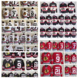 Retro Chicago Blackhawks Jersey 1 Glenn Hall 3 Pierre Pilote 7 Esposito 21 Stan Mikita 16 Hull Mens Vintage CCM Stitched Hockey Jerseys