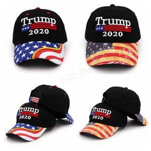 Donald Trump 2020 gorra de béisbol bordada Make America Great Again hat Star striped USA Flag carta exterior gorra deportiva LJJA2909