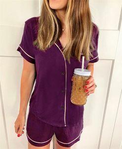 Fashion-Summer Loose Womens Sleepwear Short Sleeve Shorts Ladies 2PCS Sleepwear Fashion Solid Color Female Casual Suits