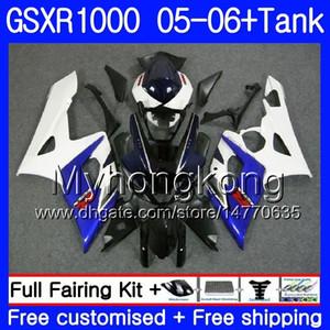Kit + réservoir pour SUZUKI GSXR-1000 1000CC GSXR 1000 05 06 Corps 300HM.2 GSX-R1000 1000 CC GSX R1000 K5 bleu blanc haut