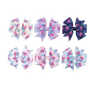 Heißer Verkauf 3inch Mädchen-Haarclips Karikatur Haarbögen Kinder Spangen Designer Flamingo hairclips Handarbeit Baby BB Clip-Haarzusätze A9854