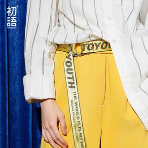 Toyouth Kadın kemer Harajuku Marka Tasarımcısı Mektuplar Sarı Uzun Tuval Bayan Kemer Kemerler C19010301
