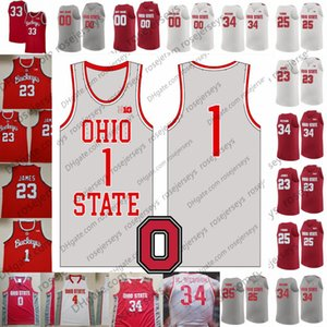 Ohio State Buckeyes personnalisé 2020 Gris Retro Basketball Rouge Blanc # 3 DJ Carton 34 Kaleb Wesson 23 James Conley Craft Russell LeBron Jersey