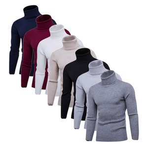 2020 Double Collar Winter Warm Turtleneck Sweater Men Solid Knitted Mens Sweaters Long Sleeve Casual Slim Pullover Male Fashion