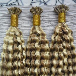 Brazilian Kinky Curly Keratin i Dica Extensões de Cabelo 1.0G / S 300G Pré-ligado 100% Cabelo Humano Cabelo Seratina Tip Tip Extensões