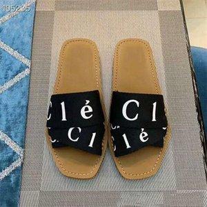 CHLOE Summer de la nueva marca manera de la mujer al aire libre Peep Toe Mujeres zapatillas planas Cartas elástico zapatillas populares Cruz tela Vacaciones deslizadores