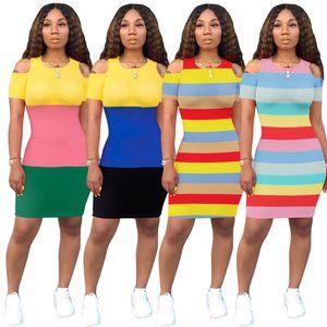 Womens rayé impression robes concepteur de vêtements d'été laminé contraste couleur mini jupes à manches courtes casual t-shirt skinny derss 926