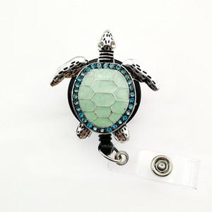 10pcs / lot Ücretsiz Kargo Rhinestone Emaye Yeşil Deniz Kaplumbağası Rozet Tutucu Çekilebilir Hemşire Yaka Kartı Tutucu Reel Anahtar Kart Etiketi