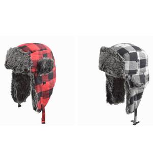 Cappello da bomber trapper invernale Cappellino da neve caldo Trooper Cappelli da ciclismo plaid vintage Cappellino da sci antivento da esterno ZZA812