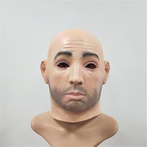 Nueva artificial hombre látex máscara de la piel de la capilla de la cara llena de la peluca humana Cara disfraz broma de Halloween traje de silicona realista máscara de Hombre