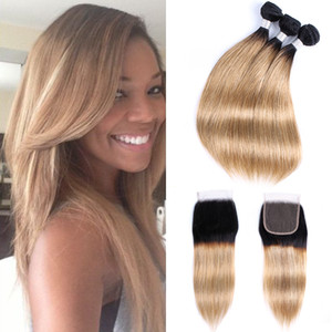 1B27 ombre Blonde Hair Bundles With Closure 3 Bundles With 4x4 Lace Closure Brazilian Straight Hair Remy Human Hair Extensions