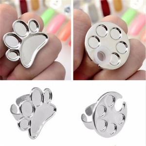 1PC del clavo del dedo paleta de arte anillo de mezclas de metal Mini dedo anular de la placa de cimentación Crema Gel polaco de acrílico ULTRAVIOLETA del equipo del arte