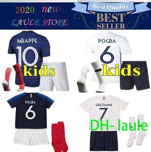 2020 2021 프랑스 어린이 축구 유니폼 MBAPPE GRIEZMANN KANTE POGBA 타이츠 발 유로 (20 개) 2021 키즈 키트 세트 축구 셔츠 유니폼 드