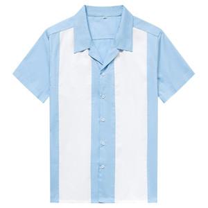 Men Blue White Vertical Striped Blouse Bowling Shirt Men's Designer Shirts Short Sleeve Button-Down Dress Camiseta Retro