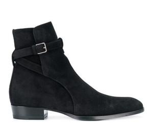 Homem Slp Assinatura Wyatt 30 Jodhpur Botas Paris Fashion Show New Black Leather Suede Side Buckle Ankle Botas Sapatos