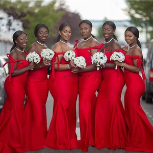 Abiti da sposa! Red Mermaid africana spalla sweep treno Garden Country Wedding Guest abiti damigella d'onore Dress Plus Size