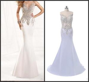 2019 New Sleeveless Floor length Lace and Beading Decoration See Through Back prom dresses Mermaid Satin Evening Dresses vestidos 2018