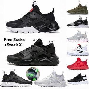 2020 Erkekler Ayakkabı huarache 1s Üçlü S Siyah cüruf OREO Hurache 4s Kemik Beyaz Kuyruk Işık Yardımcı Tasarımcı Spor Sneaker Stok X Koşu Ayakkabıları