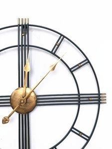 Nordic Creative Retro 60 cm en fer forgé Métal Horloge Horloge murale romaine Design moderne Salon Silencieux décorative Quartz