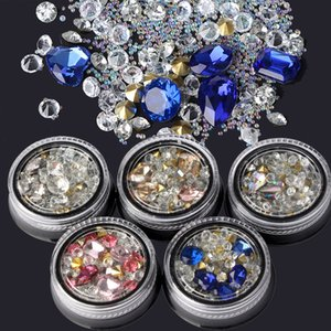 Nail Art Decoration 3D сверкающих горный хрусталь кристалл алмаза Gems красоты ювелирные изделия Синий Белый Розовый цвет стекла для DIY ногтей Маникюр Дизайн инструмента