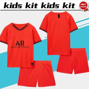 أطفال كيت 2020 باريس بعيدا أحمر # 7 MBAPPE # 10 NEYMAR JR بنين الفانيلة كرة القدم 19/20 الزي الرسمي لكرة القدم البدلة الطفل مخصص جيرسي + شورت
