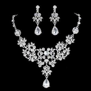 Silver Crystal strass economico placcato Teardrop-a forma Gioielli Collana Orecchini Set damigella d'onore del partito di promenade di accessori ZM