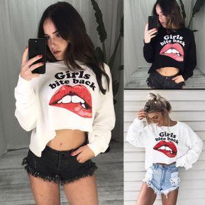 Mulheres senhoras Summer Fashion New Style boca dos desenhos animados T-shirt em torno do pescoço manga comprida Tops T-shirt Casual