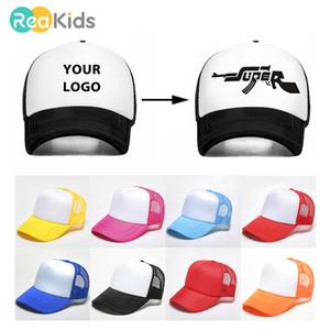 Reakids Logo Güneş Oğul Kızı Kişisel Beyzbol Şapkası Hediye Çocuk Bebek Çocuk Adı Özel Trucker Şapka C19041302
