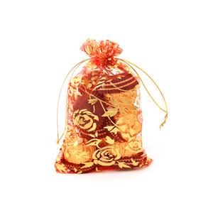 100pcs / set 13 * gioielli 18CM Buon modo di colore della miscela di Organza Gift Box Regalo di nozze Candy Bag Pouch con cuore rosa per parte