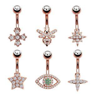 Mulheres banhado a ouro Cruz Eye Estrela Bee Cristal umbigo Rings Belly piercing no umbigo aço inoxidável Body Piercing Barbell N166