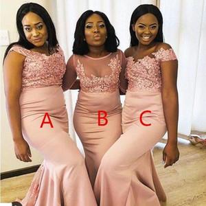 2020 Pearl Pink African Moderne schwarze Mädchen Bridesmaids Kleider Mischartauftrag Appliqued Sequined Lange Hochzeit Mädchen der Ehrenkleider