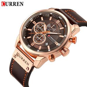 Hombre CURREN los hombres del reloj impermeable del deporte del cronógrafo militar masculino del reloj superior de la marca de cuero de lujo del reloj de Relogio Masculino 8291 LY191226