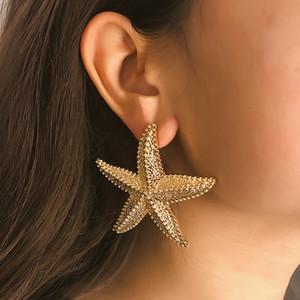 Pendientes de estrellas de mar de color dorado Declaración de aleación Estereoscópica Ocean Sea Star Stud Pendientes para mujer Joyería Pendiente exagerado gota grande