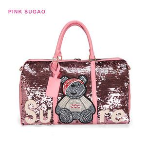 핑크 sugao 새로운 패션 더플 가방 고급 핸드백 여성 디자이너 여행 가방 큰 멋진 장식 조각 여행 가방 공장 도매 곰 인쇄