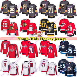 청소년 키즈 유니폼 29 Fleury 61 Ston 71 Karlsson 29 Laine 8 Ovechkin 77 Oshie 19 Toews 88 Kane Crosby Aho Hockey Jersey