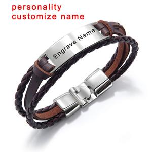 Moda Custom Name Engrave couro pulseira tecida Handmade homens pulseira corda Id Pulseiras Jóias