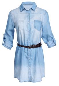 Mujer Denim Jeans Dress Vestidos Sexy manga larga más el tamaño de otoño Delgado Azul Casual Vestido Vestidos Vestidos túnica del vaquero