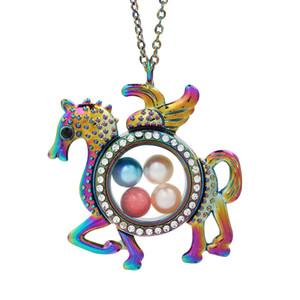 Rainbow Color Flying Horse Glas-hängende Korn-Perlen-Cage lebende Gedächtnis Schwimmdock Charme-Anhänger-Halsketten-Geschenk, mit Edelstahlkette