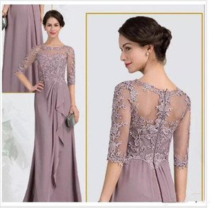 Cheap Mother of the Bride Groom Dresses Half Sleeves Illusion Chiffon Hollow Back Lace Long Prom Gowns Wedding Party Evening Dresses