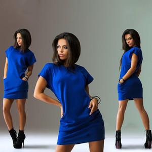 Dress estate delle donne GAOKE alta qualità casuale a maniche corte O del collo del mini vestito tasca allentata femminile casuale Vestidos
