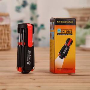 Multi-Screwdriver Torch 8 em 1 chaves de fenda com 6 LED Ferramentas tocha luz poderosa até lanterna Screw Driver Home Repair 50pcs ferramenta CCA10416