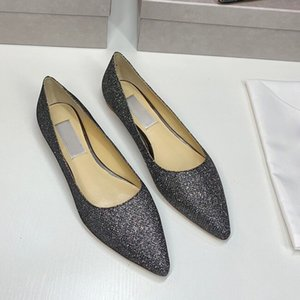 New sequins pointed flat shoes lady designer party dress shoes high-quality flat-heeled female princess luxury wedding shoes qwy