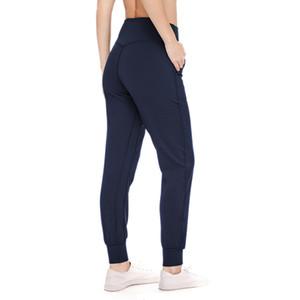 L-26 للمرأة عالية الخصر اليوغا السراويل الرياضية سروال للياقة البدنية الجري اللباس الصلبة اللون عارضة سراويل طويلة