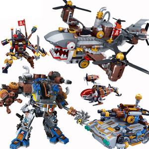 Novos Criadores Blocos A idade do vapor Tanque Train Avião Helicóptero dirigível Figuras Building Blocks Set Bricks modelo Kids Brinquedos