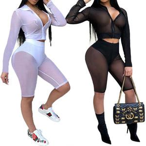 2020 Nuovo 2pcs donne Set sexy skinny camicetta Pantaloncini signore tuta elastica Canotta Skinny Pants camicia Outfits Set
