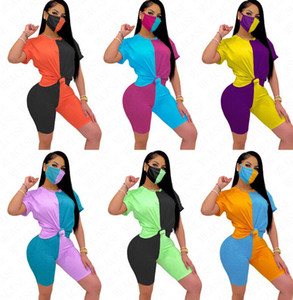 Short Summer Clothing Women Color 2020 Tracksuit Three Piece Suit Top+Shorts+Mask Sleeve Patchwork Tight Sexy Casual S-XXL Contrast D63 Vxsk