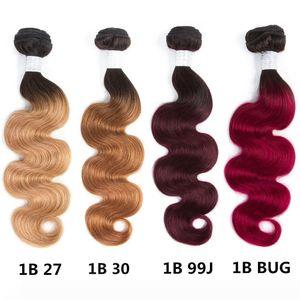 2 Tone Ombre Brazilian Human Hair 4 Bundles Body Wave Weave Human Hair Extensions 10-26inches T1B 27 T1B 30 100% Human Hair Bundles
