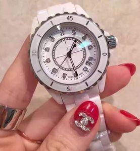 2019 NEW Diamant Lady White Black Ceramic Uhren Qualitäts-Quarz-Armbanduhr für Frauen Uhren Mannuhr